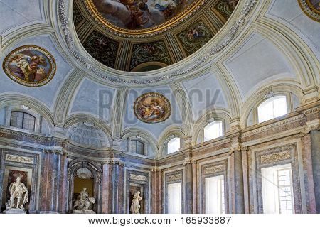 Caserta Italy - March 92008: The atrium of the Royal Palace