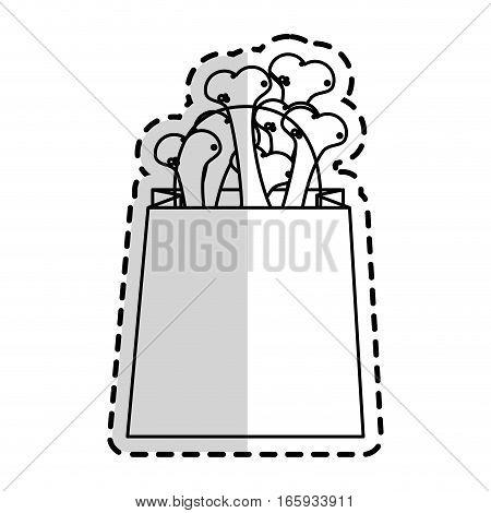 shopping bag with dog bones over white background. pet shop design. vector illustration