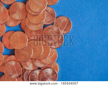 One Cent Dollar Coins, United States Over Blue