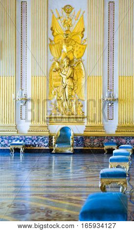 Caserta Italy - March 9, 2008: The throne room of the Royal Palace