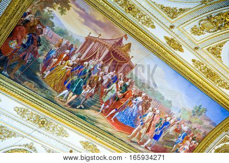 Caserta Italy - March 9, 2008: The throne room of the Royal Palace detail