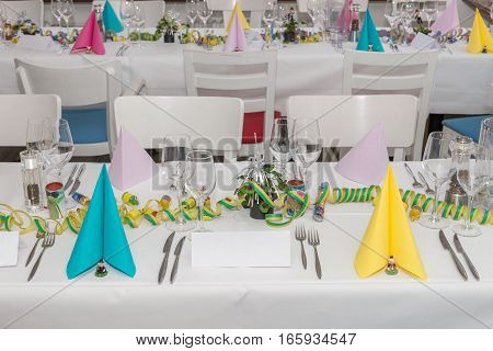 image of festive table setting in banquet hall