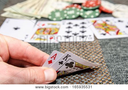 poker combinations as background - card, chips, money