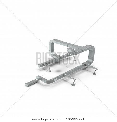 System of ventilating pipes on white background. 3D illustration