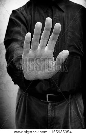 Man With Open Hand To Say Stop To Corruption