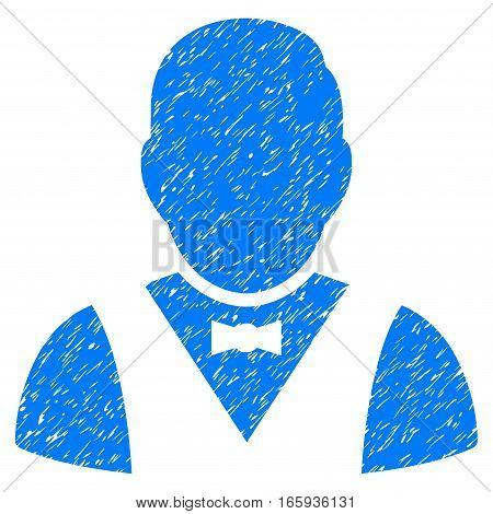 Waiter grainy textured icon for overlay watermark stamps. Flat symbol with dirty texture. Dotted vector blue ink rubber seal stamp with grunge design on a white background.