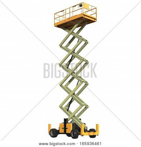 large yellow extended scissor lift platform on white background. 3D illustration
