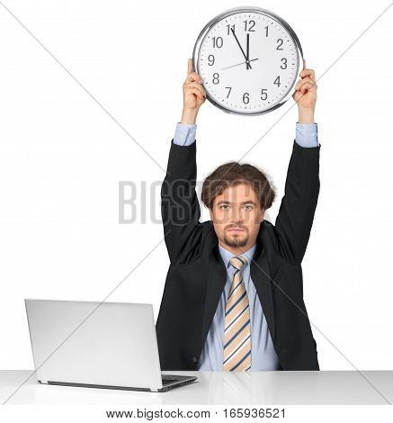 Portrait of a Businessman Holding a Clock Above his Head