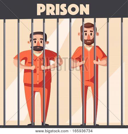 Prison with prisoner. Character design. Cartoon vector illustration. Criminal in orange uniform