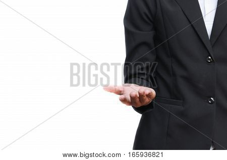 business man receiving hand on white background