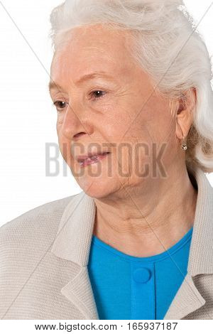Portrait of old Woman, Isolated on Transparent Background