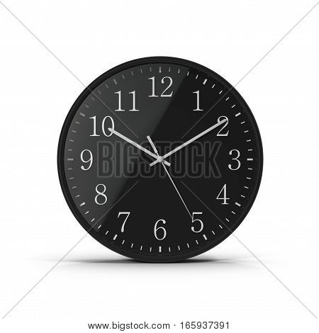 Front view classic Office clock on white background. 3D illustration