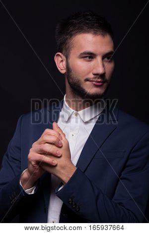 Man Elegant Suit Hand Gesture Fists Fingers Closed Together