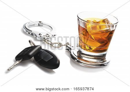 glass of liquor with car keys and handcuffs