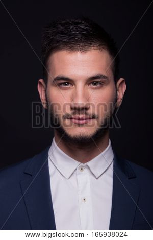 Man Headshot Face Head Portrait, White Shirt, Jacket Suit