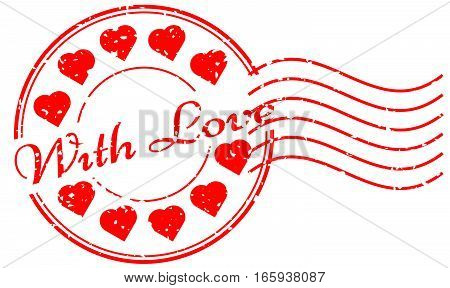 Grunge red with love with heart icon round and postmark rubber stamp