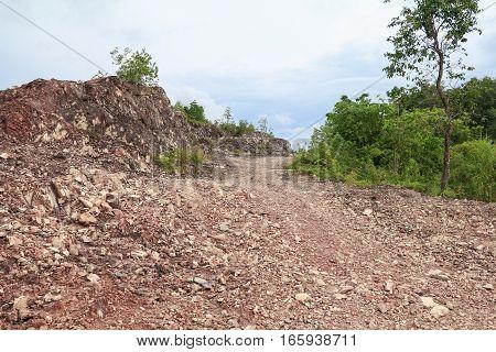 walkway on stone mountain in nature .