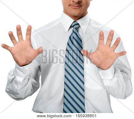 Closeup of a Businessman Touching an Imaginary Screen / Gesturing