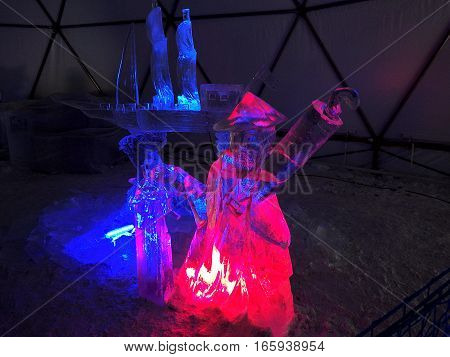 ice pirate and ship , Sculptures made of ice - High Tatras - Slovakia 2017
