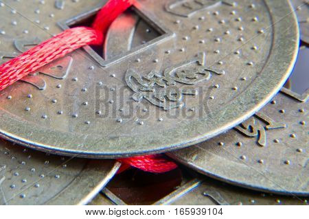 Chinese feng shui lucky coins macro closeup