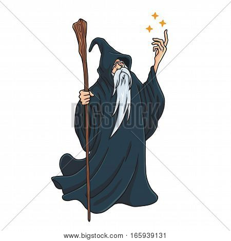 Wizard Cartoon Character Design Mascot Illustration Vector