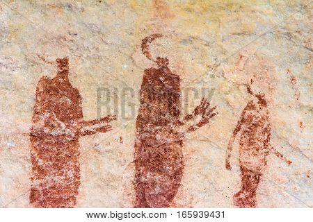 Ancient bushman paintings on Sevilla Rock Art trail in Cederberg Mountains, South Africa