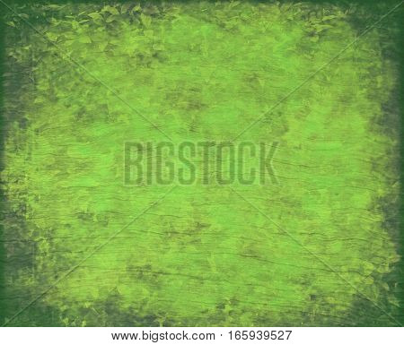 Leafy greenery canvas and wood textured grunge background. Copy space for text.