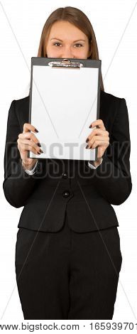 Young Businesswoman Presenting Blank Paper on Clipboard - Isolated