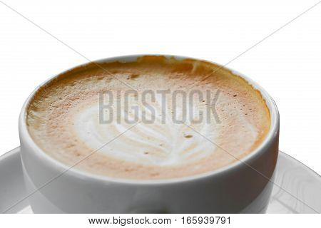 coffee cappuccino close up on white background