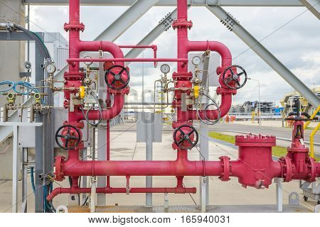 Industrial safety fire control system water pipes with valve red