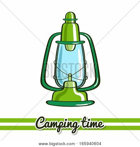 Hand drawn lantern isolated on white background. One image of series Camping time. Vector illustration