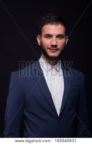 Young Adult Man Smirking Suit Elengant