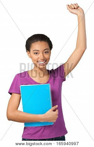 Friendly Young Girl Celebrating and Holding Note Pad - Isolated