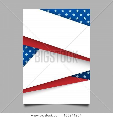 USA patriotic background. Vector illustration with text stripes and stars for posters flyers decoration in colors of american flag. Colorful template for National celebrations political campaigns.