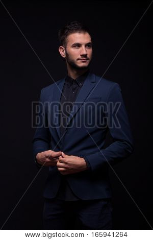 Young Adult Man, Looking Sideways, Black Dark