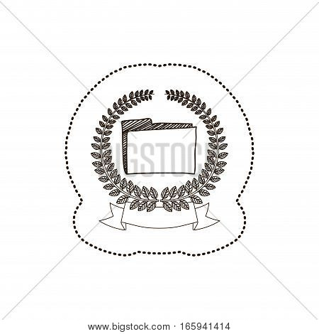 sticker arch of leaves with folder vector illustration