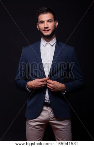 Young Happy Man Model Buttoning Jacket Suit Elegant