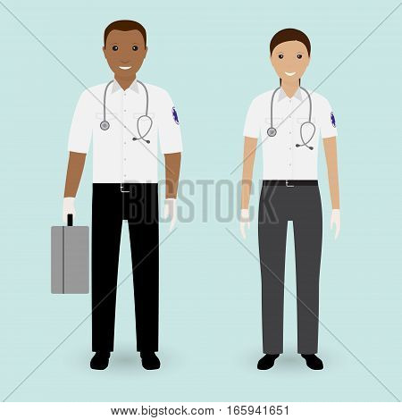 Hospital staff concept. Paramedics ambulance team. Male and female emergency medical serviice employee. Flat style vector illustration.