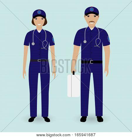 Hospital staff concept. Paramedics ambulance team. Male and female emergency medical serviice employee in uniform. Flat style vector illustration.