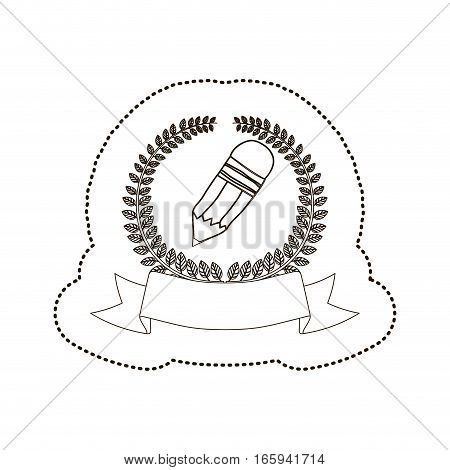 sticker arch of leaves with pencil with eraser vector illustration