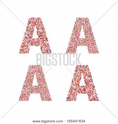Alphabet letter A with red heart on Valentine's Day. Valentine`s Day Alphabet of Hearts. Love ABC