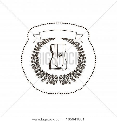 sticker arch of leaves with pencil sharpener vector illustration