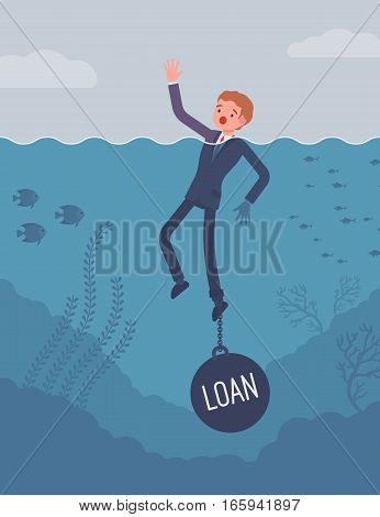 Businessman drowning chained with a weight Loan, having propblem commercial or customer loan, delinquent debt, seeking for refinance. Cartoon flat-style concept illustration