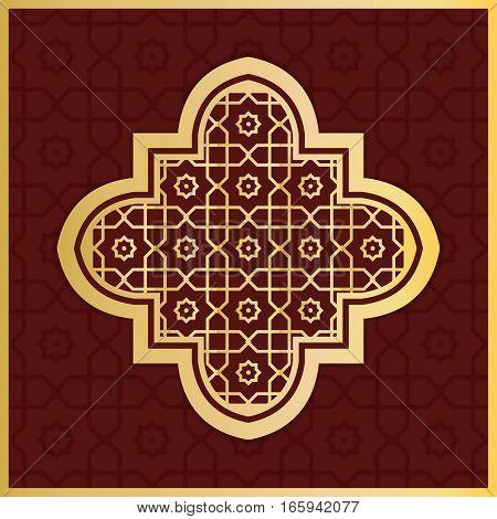 Tradional islamic architectural element gold ornamental lattice