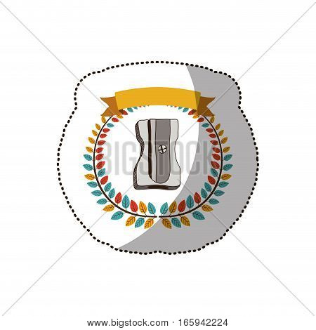 dotted sticker arch of leaves with pencil sharpener vector illustration