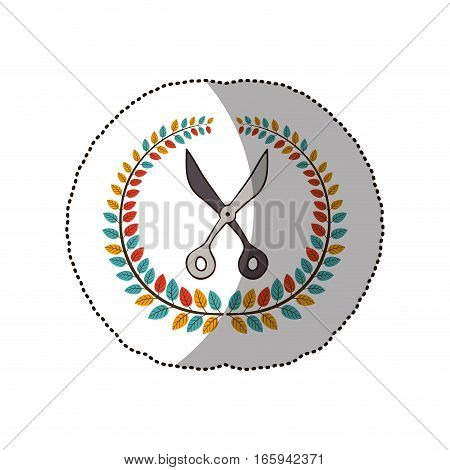 dotted sticker arch of leaves with scissors tool . Vector illustration