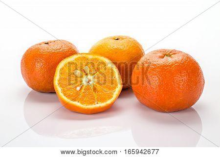 group of fresh orange isolated on white background