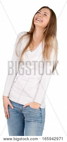 Young Woman Laughing with Hand in Pocket - Isolated