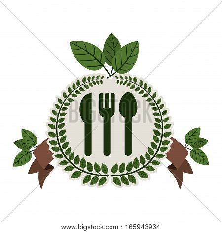 arch of leaves with silverware and label vector illustration