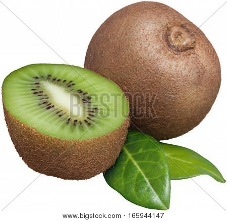 Whole and Half a Kiwifruit with Leaves - Isolated